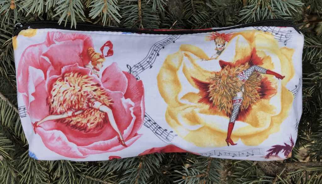 can can flowers flat bottom bag makeup toiletries craft supplies