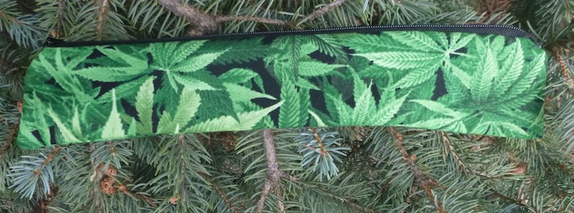 cannabis narrow pouch for paper or reusable straws
