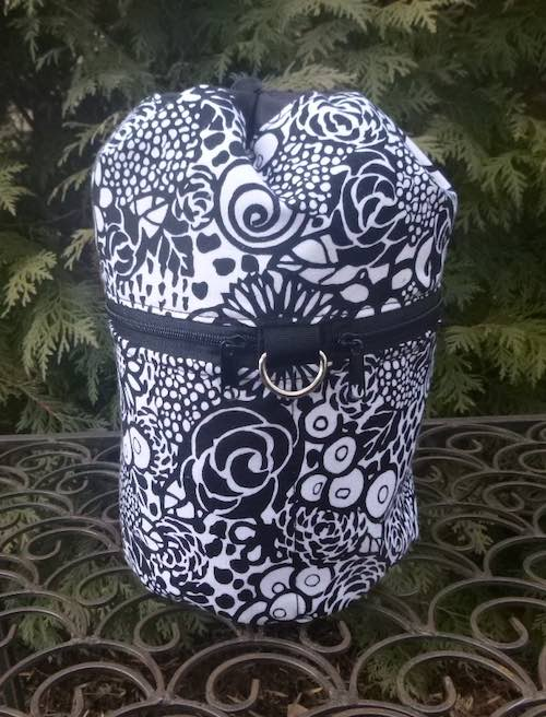 black and white flowers knitting project bag