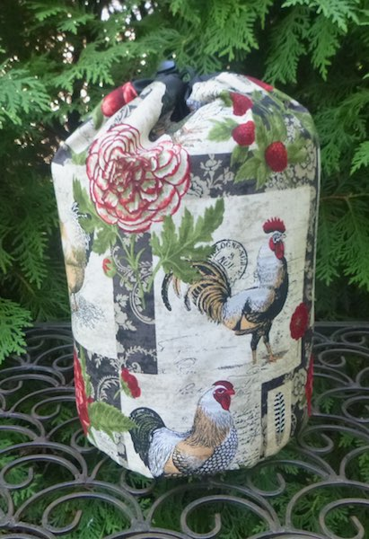 chickens flowers drawstring bag for knitting crochet Rummikub Scrabble