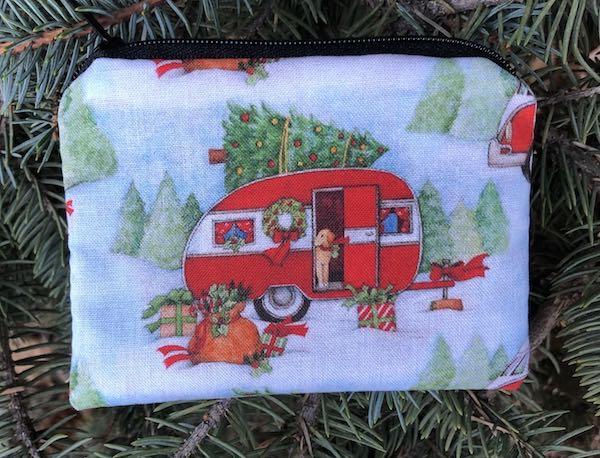Christmas camping trailer reusable gift pouch coin purse