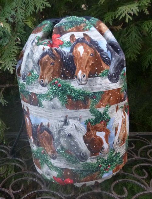 Christmas horses reusable gift bag knitting bag