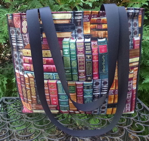 tote with long handles and books