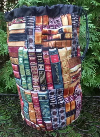 classic books round drawstring bag