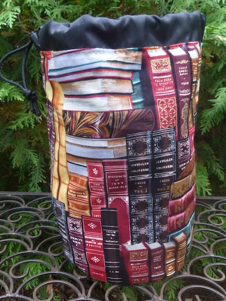 Classic books knitting project bag