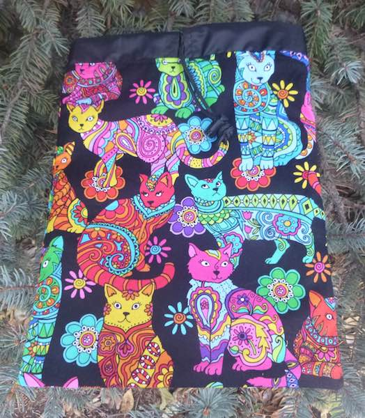 colorful cats flat drawstring bag for rummikub scrabble tiles travel hairbrushes toiletries