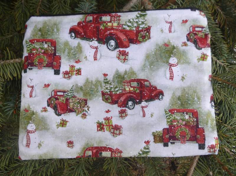 red trucks at Christmas pouch for mahjong card and coins