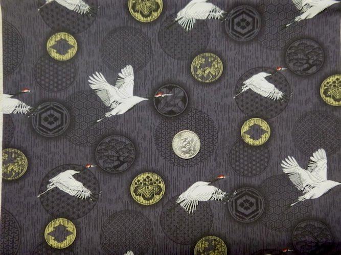 flying cranes on black mahjong tile bag