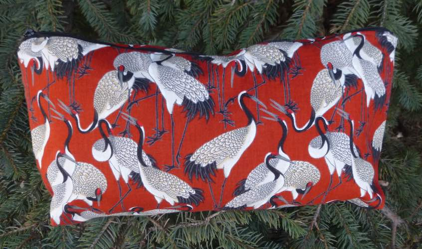 Japanese cranes on red flat bottom bag for mahjong tiles art supplies knitting projects