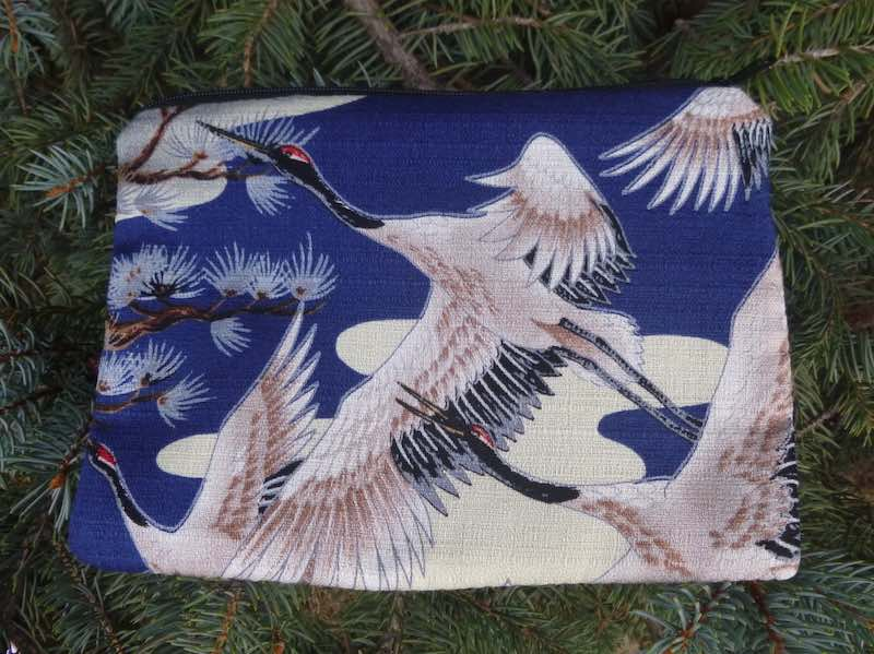 Japanese cranes zippered bag, makeup, phone charger purse organizer