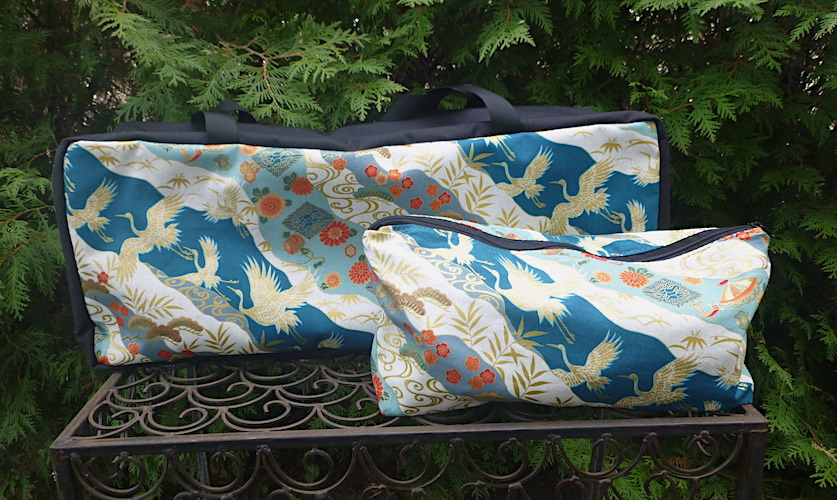 Japanese cranes on teal soft sided mahjong tote and bag for tiles