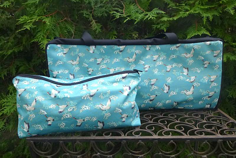 Japanese cranes and waves soft sided tote and bag for mahjong racks and tiles
