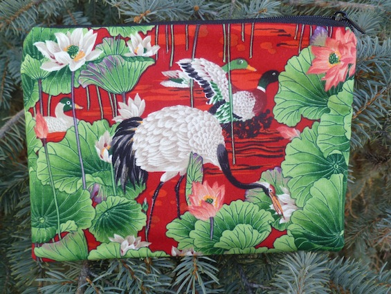 cranes and waterlilies zippered bag
