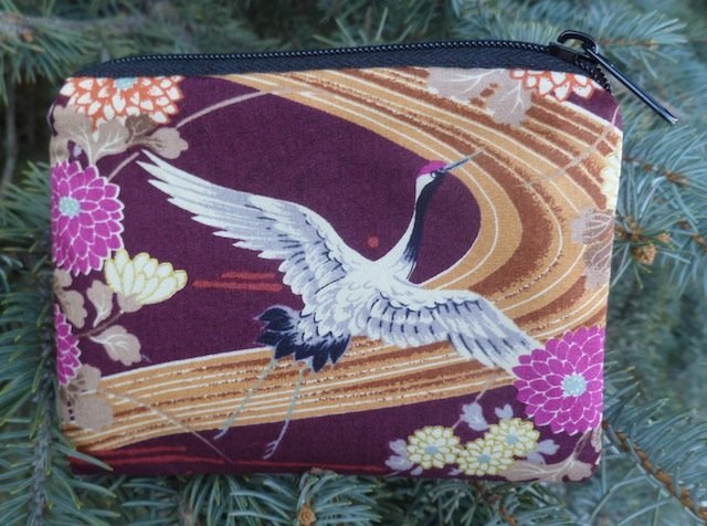 Flying Japanese cranes coin purse