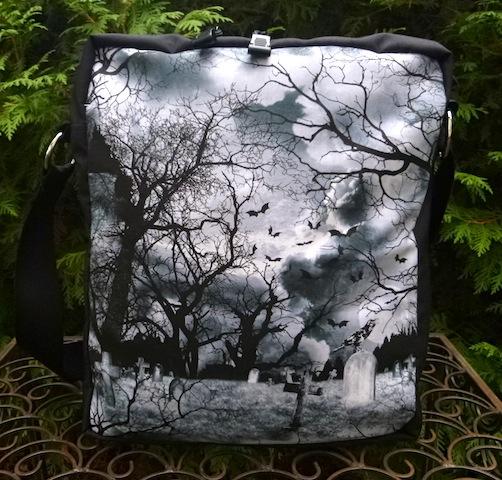 crow graveyard shoulder bag
