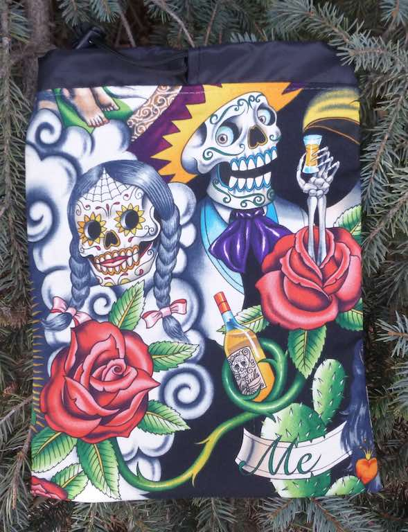 Day of the Dead flat drawstring bag