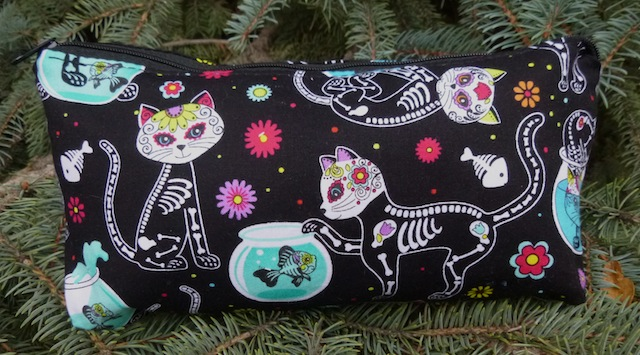 Day of the Dead cats flat bottom bag