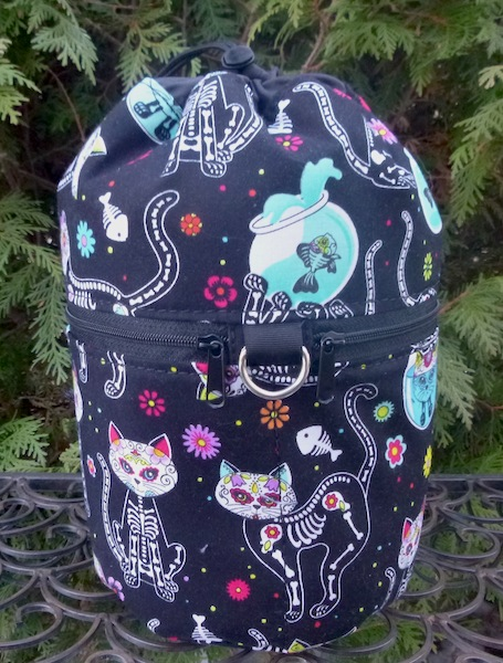 Day of the Dead cats knitting bag