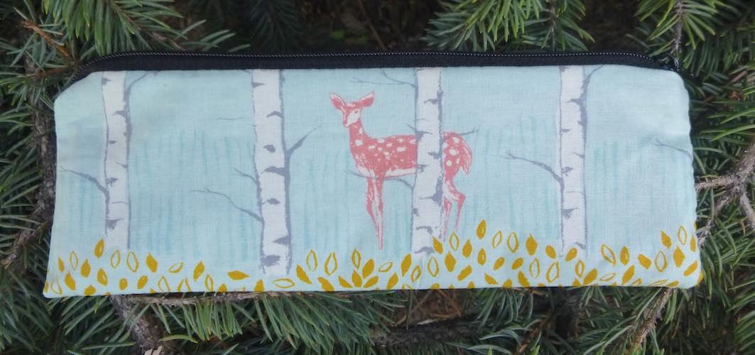 deer in trees pencil case crochet hook case