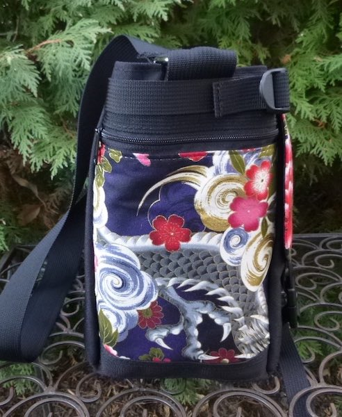 Japanese dragon messenger bag zippered side pocket