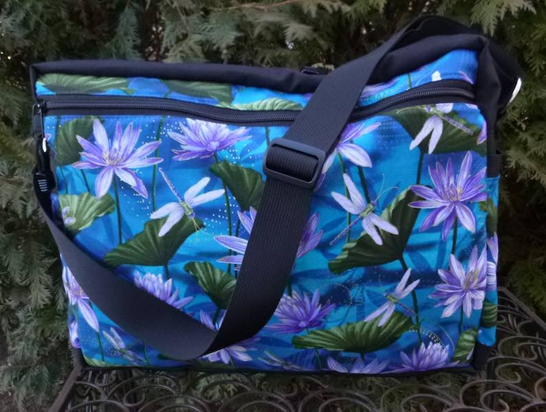 zippered cross body travel bag adjustable strap dragonflies