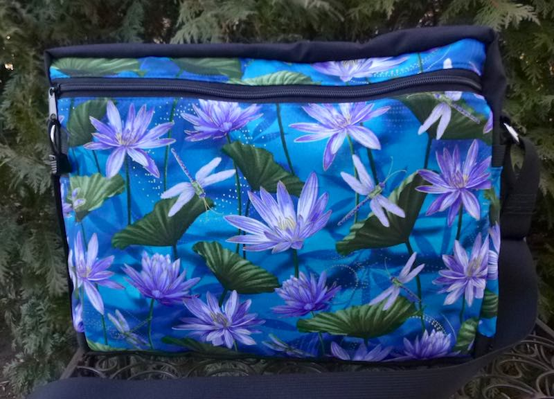 large cross body shoulder bag for travel with dragonflies and water lilies