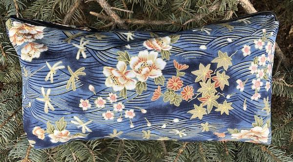 Japanese peonies and dragonflies flat bottom bag for mahjong tiles, toiletries, knitting projects or notions