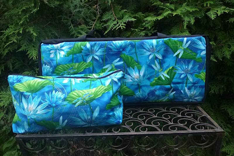 Dragonflies and water lilies soft sided tote for mahjong racks and tile bag