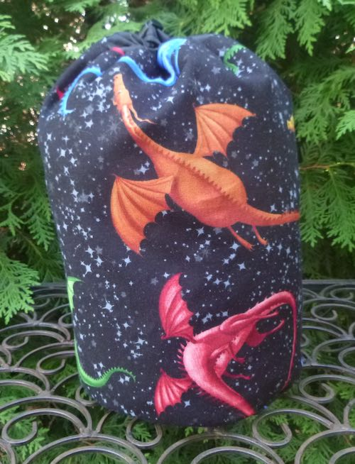 dragons round drawstring bag knitting Rummikub Scrabble