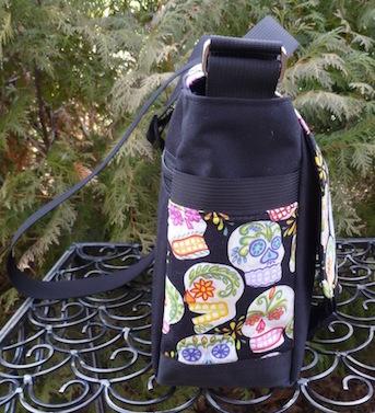 sugar skull messenger bag with pockets
