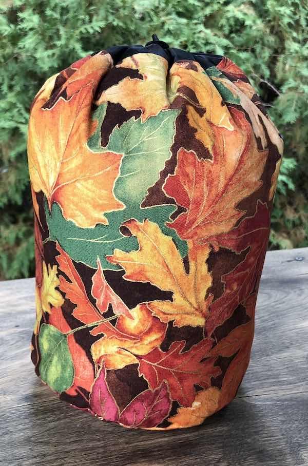Fall leaves drawstring bag for knitting rummikub tiles storage