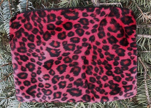 red leopard faux fure makeup bag