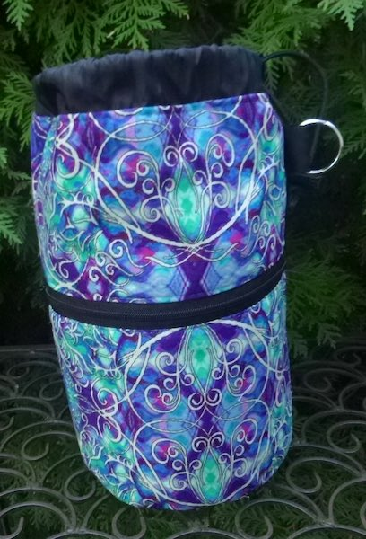 blue travel knitting project bag with pockets