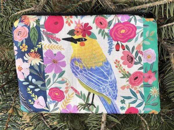 Birds and flowers zippered bag