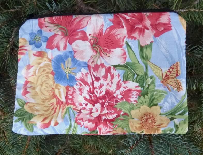 flowers and butterflies zippered bag