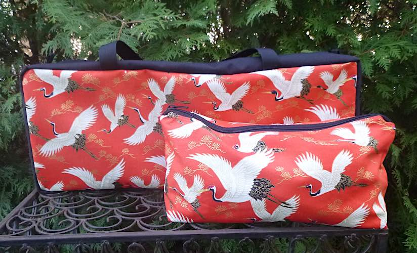 Japanese cranes zippered soft sided tote for mahjong racks and pushers with bag for tiles