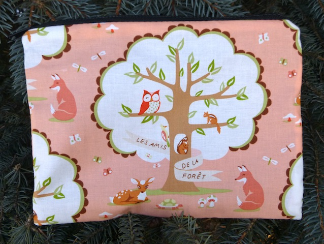 woodland animals Mah Jongg card and coin pouch