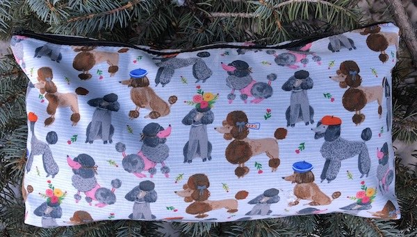 French poodles flat bottom zippered bag for mahjong tiles, knitting, crafts, toiletries