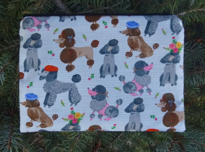 French Poodles zippered makeup bag