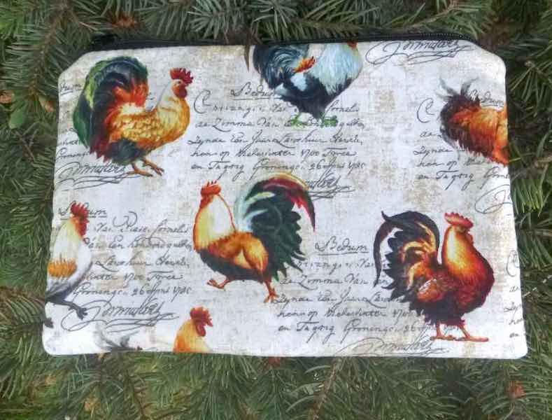 French Roosters makeup accessory bag