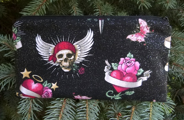 skulls and hearts pencil case