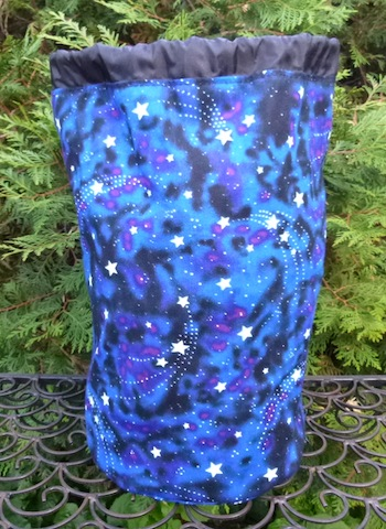 glow in the dark stars large knitting project bag