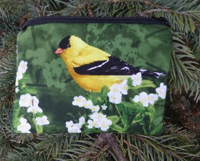 Goldfinch coin purse birdwatcher gift