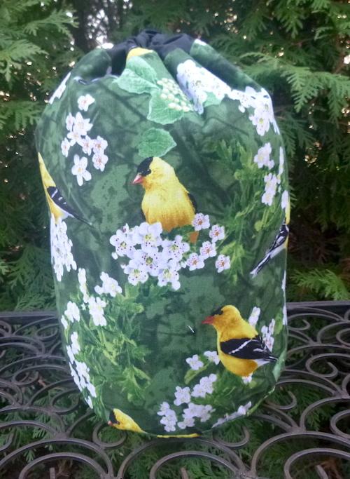 Goldfinch drawstring bag for knitting, Mahjong Scrabble tiles