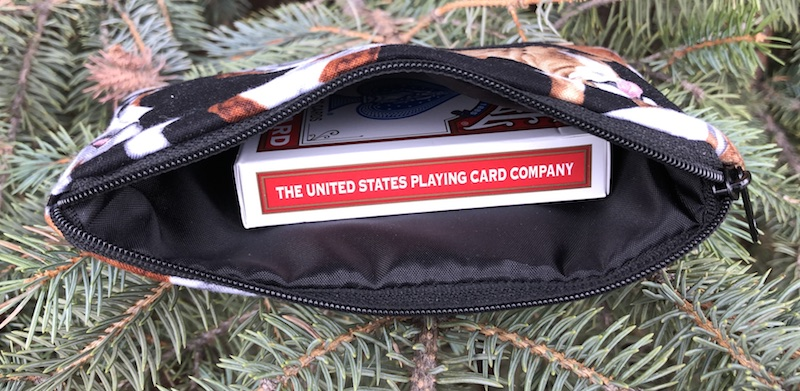 small zip bag to hold playing cards