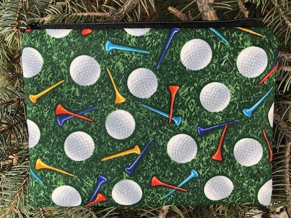 golf balls and tees zippered bag, golt tourmanent gift