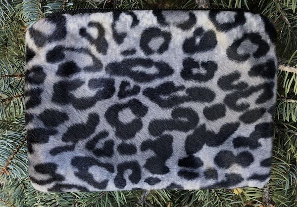 Grey faux fur leopard makeup bag