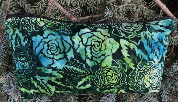 green batik flat bottom bag mahjong tiles, knitting, makeup bag toiletries