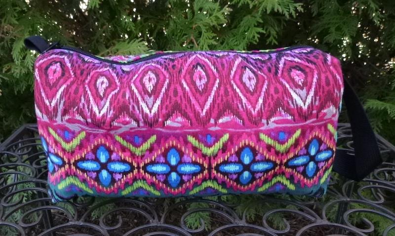 Boho striped boxy knitting bag, Boho toiletry bag, Boho cosmetic case