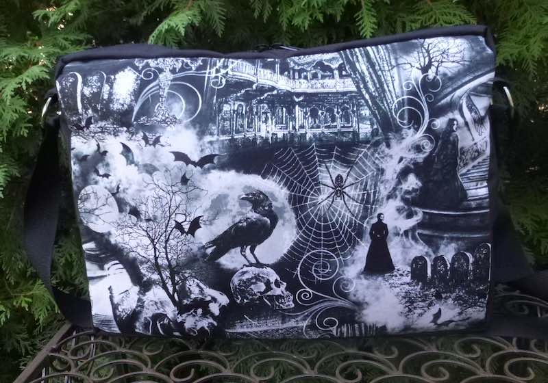 spooky gothic haunted house cross body zippered tote